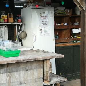 de keuken voor de deelnemers van de daktuin